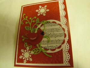 Winter Cardinal on Holly Branch Christmas Handmade Card Kit w/Stampin Up 4