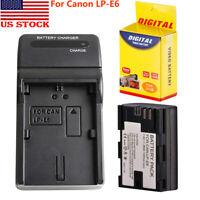 LP-E6 Battery 2600mAh 7.4V + Charger For Canon EOS 5D 5D4 6D 60D 7D 70D 80D 5DSR