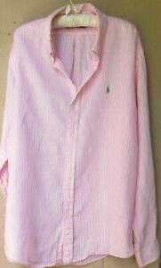 MEN'S  Ralph Lauren Pink/White Stripe Linen Shirt   XXL