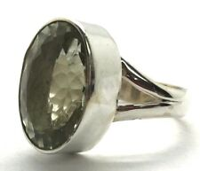 Sterling Silver Solitaire Faceted Oval Translucent Green Amethyst Cocktail Band