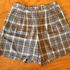 MILANO, Size 18, Plaid, Pleated Front, Casual-style Shorts in Linen and Cotton