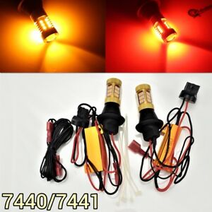 Brake Light T20 7440 7441 992 Amber + Red Switchback SMD LED M1 AW MAR