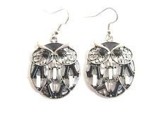 Striking Owl Filigree Drop Earrings- Silver base metal, Black beads, black eyes