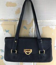Kate Landry Navy Leather  Shoulder Bag Satchel Handbag Purse Tote