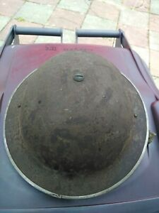 VINTAGE WW2 BRITISH ARMY HELMET WITH LINER & CHIN STRAP DATED 1939 by F & L. GC.