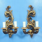 """Pair 13"""" Vtg Wood Carved WALL Candlestick SCONCES Baroque Style"""