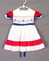 vtg Polly Flinders Original Hand Smocked Toddler Baby Dress Embroidered sz 3T
