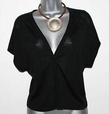 MONSOON Black Cap Kimono Sleeve Silky Knit Shrug Bolero Party Evening Medium