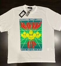 """$295 Mens Authentic DSquared2 """"Raved Up"""" Dyed Graphic T-Shirt White 2XL"""
