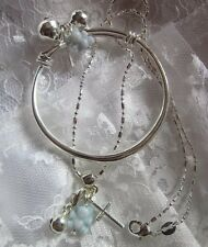 """Blue Ted Bell&cross//Sterling Silver16""""CHAIN/925 STAMPED PLAIN BABY BANGLE, Bxd."""