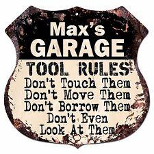 BPG0255 MAX'S GARAGE TOOL RULES Shield Sign Man Cave Decor Funny Gift