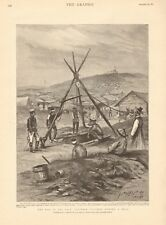 1894  ANTIQUE PRINT - JAPANESE SOLDIERS SINKING A WELL