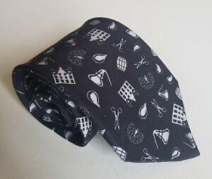 Duncan Quinn Black Silk Tie With White Symbols Italy HTF!