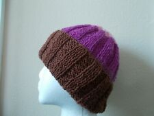 Hand knitted 100%  rustic wool beanie/hat, brown/purple/pink