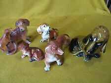Ceramic/porcelain dog figurines:FIVE DOGS OF VARYING  SIZES AND SPECIES VINTAGE+
