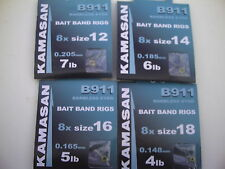 Assorted B911 Eyed Barbless Bait Band Rigs Hooks to Nylon Sizes 12,14,16,18.