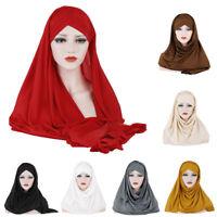 Muslim Women Hooded Scarf Hijab Bonnet Cap Instand Ready To Wear Shawl Head Wrap