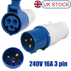 240V 16A 3 PIN BLUE SITE INDUSTRIAL PLUGS & SOCKETS MALE/FEMALE IP44 2P + EARTH