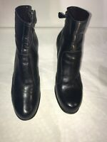 Max Mara Ladies Black Leather Platform Ankle Boots Uk 5 Ref Ba08
