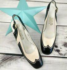 Vintage Spectator Heels Size 7Aa Wingtips Jayems Jm's 70's Black Cream Women's