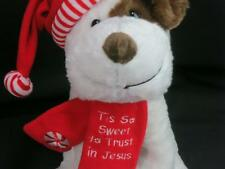 CHRISTMAS SANTA SITTING DOG FIESTA PLUSH SO SWEET TO TRUST IN JESUS PEPPERMINT
