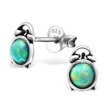 Childrens Girls Sterling Silver Opal Alarm Clock Stud Earrings - Pouch