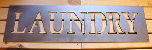 "Laundry Farmhouse Sign - Metal Wall Art - Silver 5"" x 17 3/4"""