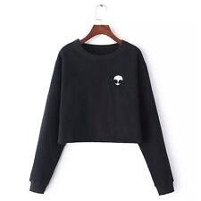 Women Alien Print Crop Top Blouse Jumpers Long Sleeve Pullover Casual Sweatshirt