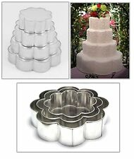 "SET OF 4-PIECE PETAL SHAPE CAKE BAKING PANS BY EURO TINS 6"" 8"" 10"" 12"" (3"" DEEP)"