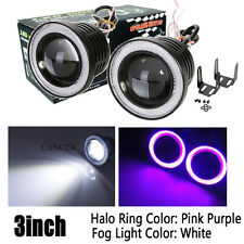 "2x 3"" Car Fog Light COB LED Projector Pink Angel Eye Halo Ring DRL Driving Bulb"