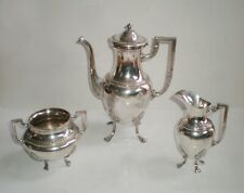 WMF antique set: teapot or coffee pot, sugar bowl, milk jug, silver pl. 1900 /tt