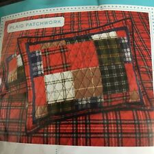 "Lot (2) Martha Stewart RED Patchwork Plaid Quilted Standard Sham 20"" x 26"""