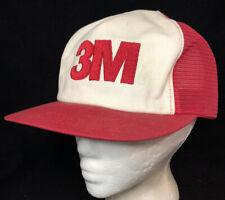 Vtg 3M Mesh Trucker Hat Snapback Company Logo K Brand Cap Farmer Style Red White