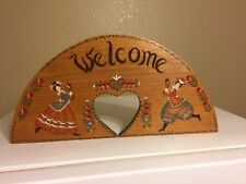 "Wooden Welcome Sign with Heart cutout - 18"" by 9"""