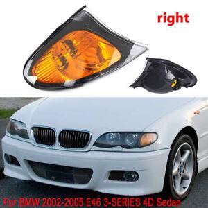 Right Passenger For 02-05 BMW E46 3-SERIES 4DR Sedan Corner Lights - Yellow Lens