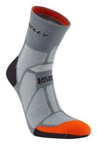 Hilly Urban Marathon Running Socks in Granite / Orange Lycra with Odour Control