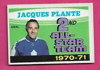 1971-72 OPC # 256 LEAFS JACQUES PLANTE GOALIE  AS GOOD  CARD  (INV# C1920)