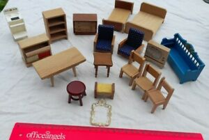 Vintage Collection Of Wooden Dolls House Furniture