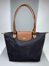 LONGCHAMP Le Pliage Black Nylon Tote Bag Women's Shoulder Handbag Size M