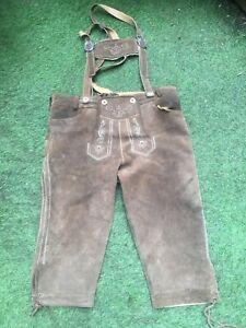 Austrian Traditional lederhosen heavy suede Bib & Brace Short 3/4 length trouser