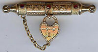 *CHARMING ANTIQUE VICTORIAN GOLD FILL DANGLE HEART RUBY GLASS GEMS PIN*