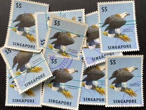 Wholesale Lot- Singapore 1962 Sea Eagle $5 stamps used for Revenue Payment x 10