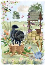 "Schipperke Dog (4""x 6"") Blank Card/Notelet ""Wishing Well"" By Starprint"