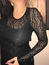 BKE Low Cut Black Sheer Long Sleeve Lace The BUCKLE Blouse! Small GUC!