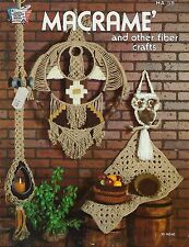 Vtg Macrame and Other Fiber Crafts Book HA58 Owl & Wall Art Hanging Patterns
