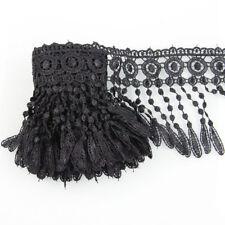 3 Yards Floral Venise Black  Lace Fringe Applique Costume Sewing Trims Craft