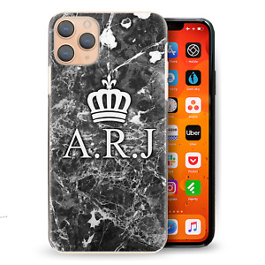 Personalised Initial Phone Case, Crown Monogram Black Marble Print Hard Cover