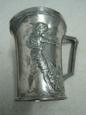Antique cup mug silvered metal art Nouveau WMF Germany a boy with dogs