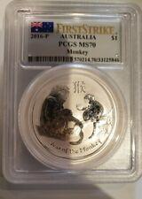 2016-P Australia Silver Lunar Year of the Monkey (1 oz) $1 - PCGS MS70 FS Lunar