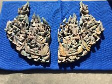 Gorgeous Pair of Vintage Thai Dance Temple Teak Carvings
